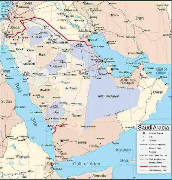 خريطة المملكة العربية السعودية بالمدن والمحافظات زيادة