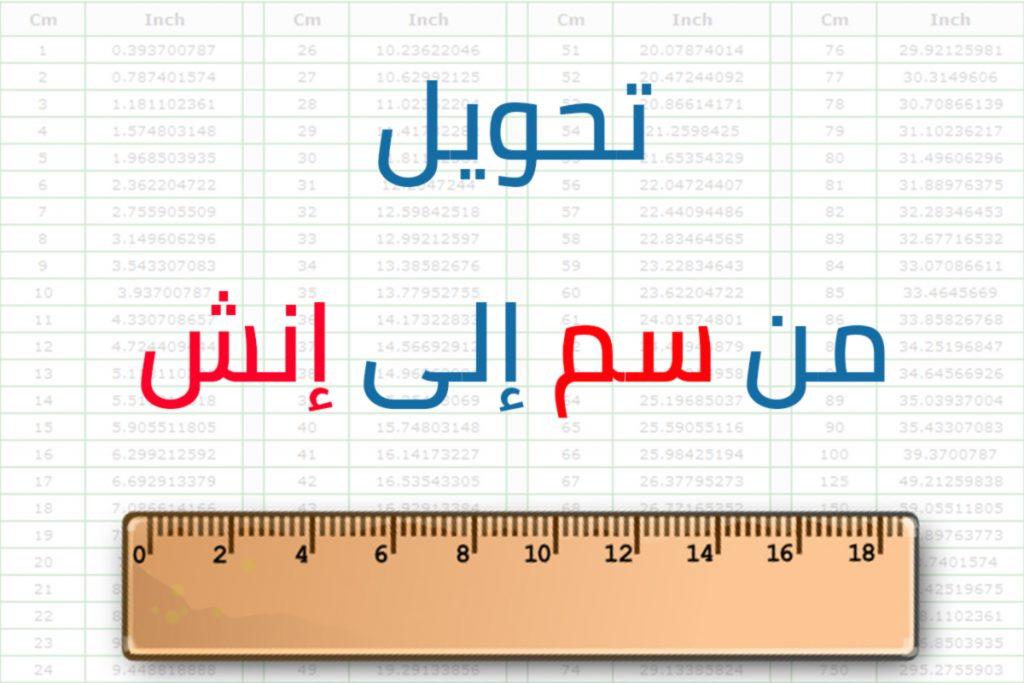 تحويل من سانتي متر إلى الإنش وخطوات تحويل من سانتي متر إلى الإنش زيادة
