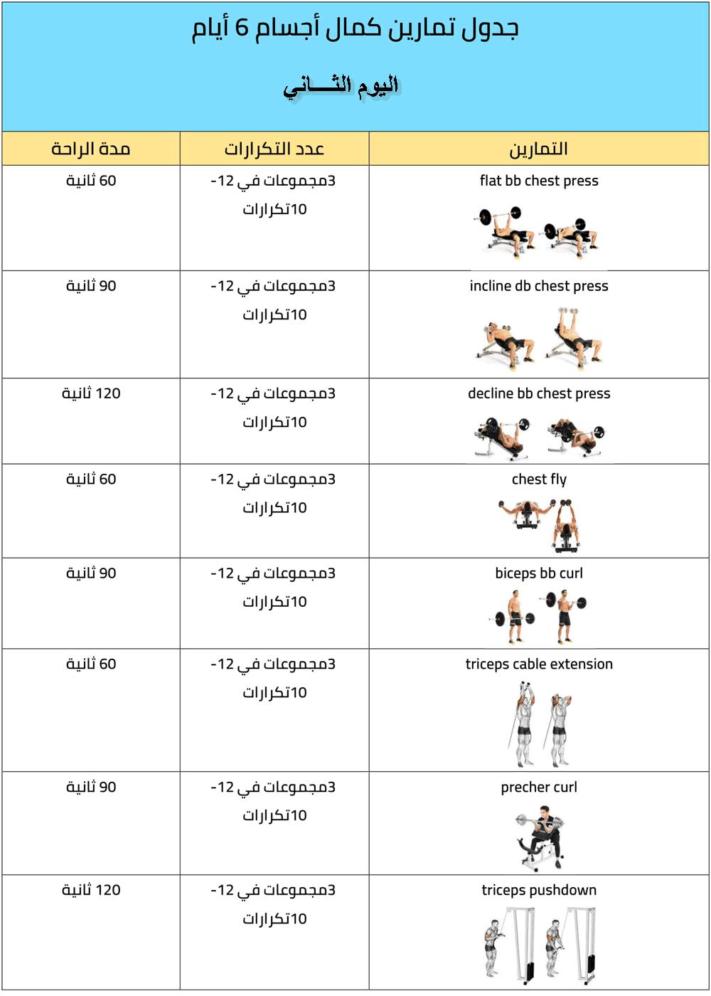 جدول تمارين كمال الأجسام 6 أيام والأخطاء الشائعة